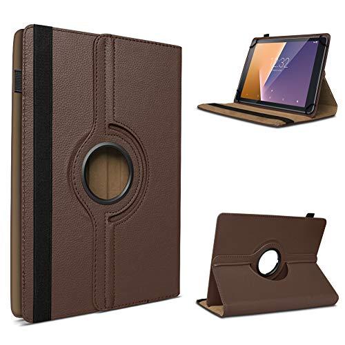 UC-Express Tablet Hülle kompatibel für Vodafone Tab Prime 6/7 Schutzhülle aus Kunstleder Tasche mit Standfunktion 360° drehbar Universal Cover Case, Farben:Braun