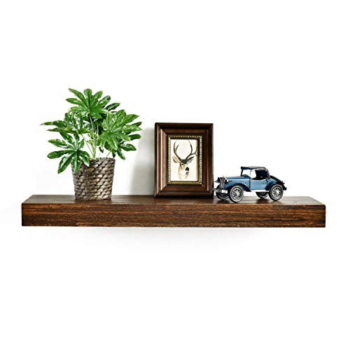 Minggoo Floating Shelves Wall Mounted Set of 2, Rustic Wood Wall Storage Shelves for Bedroom,Living Room,Bathroom, Kitchen Torched Wood