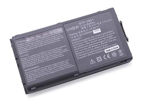 vhbw Li-Ion Batterie 4400 mAh (14.8 V) pour ordinateur portable Maxdata Pro 5000, 5000T, 7100, 7100 x, NEC MS2103 MS2110, VEGA II ACY23 comme BTP-D9BM 39D1-VA97, BTP-D9BM 620.
