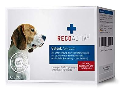 RECOACTIV® Gelenk Tonicum für Hunde - Kurpackung 3x90 ml – getreidefrei – mit Grünlippmuschel, Glucosamin, Chondroitin, MSM, Teufelskralle, Weidenrinde & Omega-3, Inhaltsstoffe in Humanqualität, deutsches Produkt