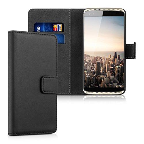 kwmobile Wallet Hülle kompatibel mit ZTE Axon Mini - Hülle Kunstleder mit Kartenfächern Stand in Schwarz