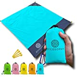 """ECCOSOPHY Sand Proof Beach Blanket - 100% Waterproof Picnic Blanket 60x55""""- Outdoor Compact Pocket Blanket - Lightweight Ground Cover for Hiking, Camping, Festivals, Sports, Travel- with Bag & Stakes"""