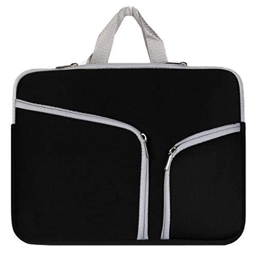 Laptop Tasche 11/13/14/15/17 Zoll Handtasche Notebooktasche Aktentasche Tablet Tasche Schulter Bag Wasserabweisend Satchel Bussiness Aktentasche Multifunktions Laptoptasche (Schwarz, S)