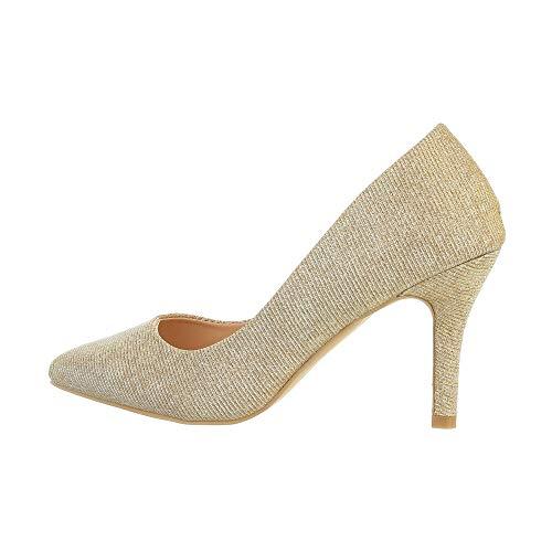 Ital Design Damenschuhe Pumps High Heel Pumps, A136-1-, Synthetik, Gold, Gr. 36