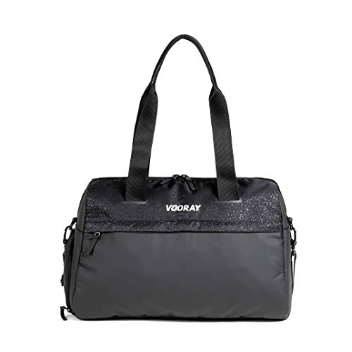 Vooray Trainer Duffel, Water-Resistant Gym Bag with Shoe Compartment and Wet-Gear Pocket 24L (Black Foil)