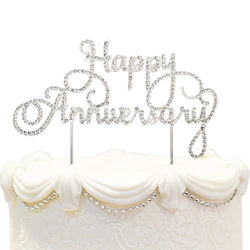 Happy Anniversary Cake Topper Wedding Anniversary Crystal Rhinestone Party Decoration Silver (Silver)