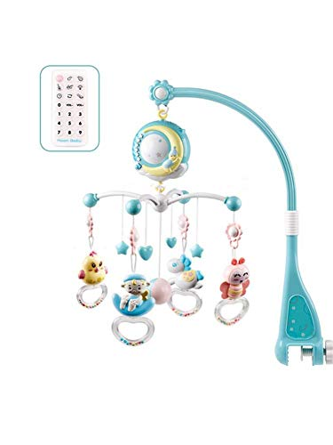 biteatey Baby Rotary Mobile para cuna Campana de cama con luces y música-150 canciones de cuna suave, 10 máquinas de música, 10 canciones de bebé y 5 sonidos naturales