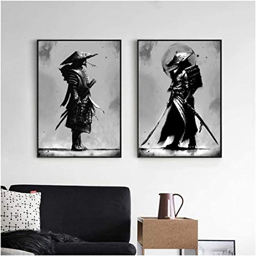 Refosian Japan Samurai Portrait Wall Art Bushido Painting Japanese Warriors Canvas Print Posters for Living Room Decoration -20X28 Inch No Frame 2Pcs