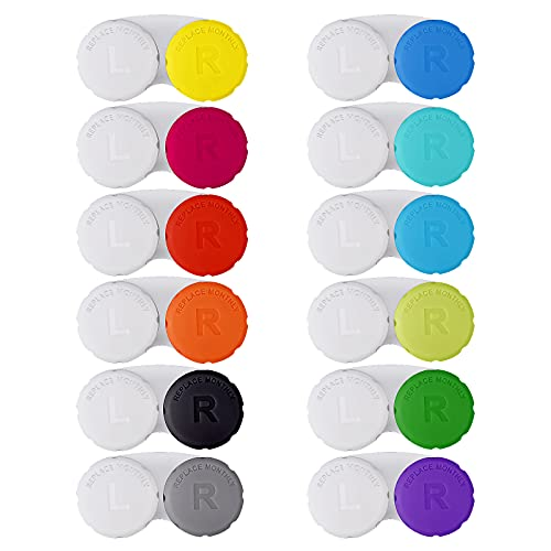 12PCS Colorful Contact Lens Case, Contact Lens Immersion Kit, Leak-Proof Packaging, Suitable for Outdoor Mini Contact Lens Case Screw Top