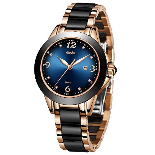 LIGE Relojes Mujeres Señoras Moda Lujo Calendario Impermeable Fecha Reloj de Pulsera Relojes Analógicos Casuales Simples para Mujeres con Reloj de Acero Inoxidable Negro Ceramica