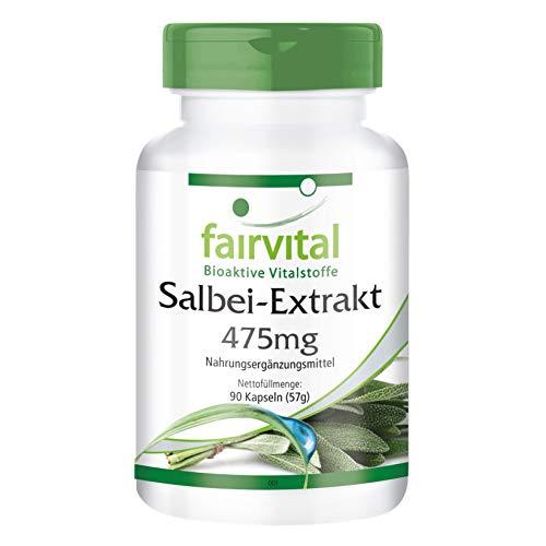 Salbei Kapseln - Extrakt 475mg - HOCHDOSIERT - VEGAN - 90 Kapseln, standardisiert auf 2% essentielle Öle - Salvia officinalis