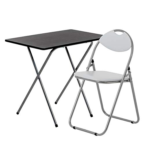 Harbour Housewares 2 Piece Folding Desk and Chair Set - Small Modern Home Office Workstation for PC Laptop Study - Wooden Top - White/White