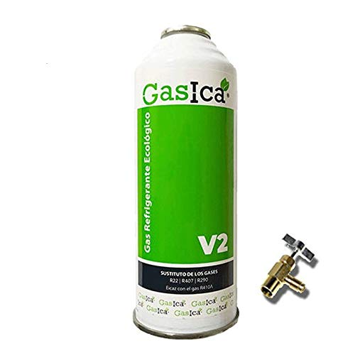 REPORSHOP - 1 Bottiglia Gas Ecologico Gasica 255gr + V2 valvola Sostitutiva R22, R32, R407C, R410A Organic Fermo