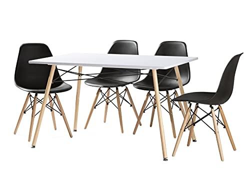 MOMMA HOME Conjunto de Comedor Mesa Nordica Efecto Madera Color Blanca/Haya y 4 sillas Nordicas Nesi en Color Negro/Haya (Negro)