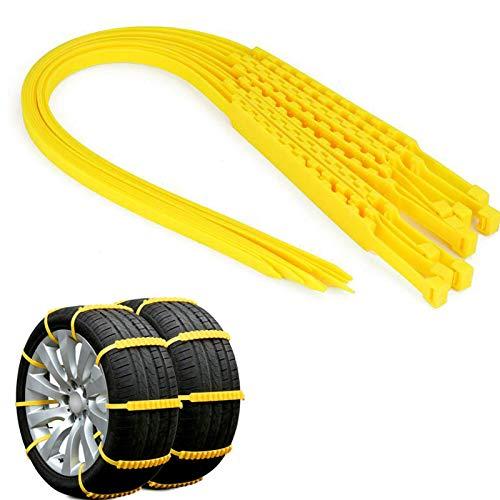MASO Universal Schneeketten 10pcs Set Snow Chains Anfahrhilfe Anti Skid Nail Auto Snow Tire Ketten für Auto SUV LKW Gelb