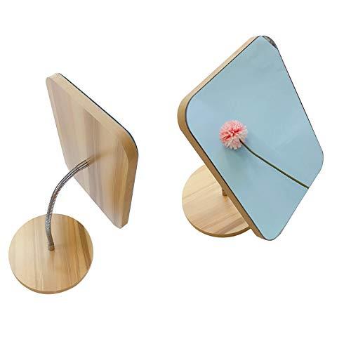 Hosoncovy Espejo rectangular de cuello de cisne flexible, giratorio 360 grados, para maquillaje, con soporte de madera, espejo cosmético para dormitorio, cuarto de baño