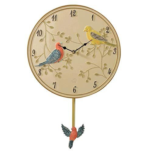 AIOJY Cuco Reloj De Pared Redondo Resina Péndulo Reloj De Pared Silencioso Decorativo con Péndulo Movimiento De Barrido De Pájaro Apagado por Batería para Uso En El Hogar Reloj De Pared