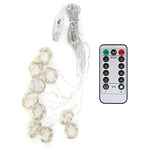 Emoshayoga 3x3m 300LED USB Cobre Alambre Cadena de luz Hogar con Control Remoto para decoración de Cortina de Boda de Fiesta(Vistoso)