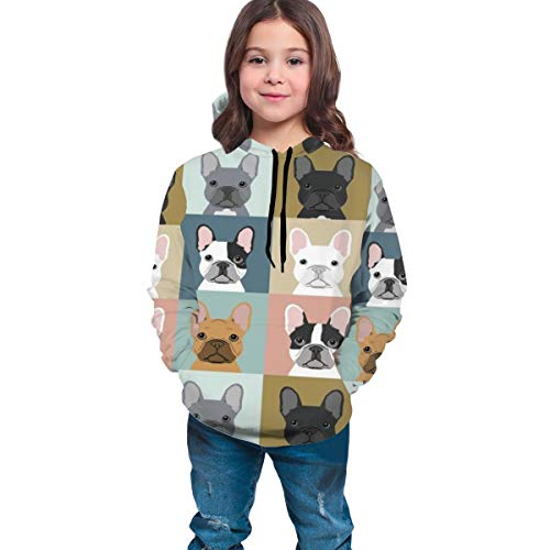YongColer Unisex 3D Digital All Over Print Hoodie Casual Pullover Hooded Sweashirt Pockets(French Bulldog Pattern, L)