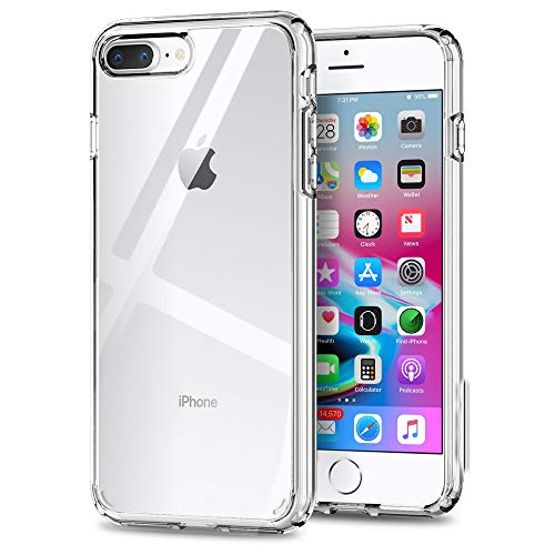 ISOUL Clear Case voor iPhone 8 Plus, Acryl iPhone 7 Plus Case, Crystal Clear Protective Cover, Transparant Hard Back Zachte TPU Gel Bumper Premium Beschermhoes voor iPhone 7 Plus en iPhone 8 Plus