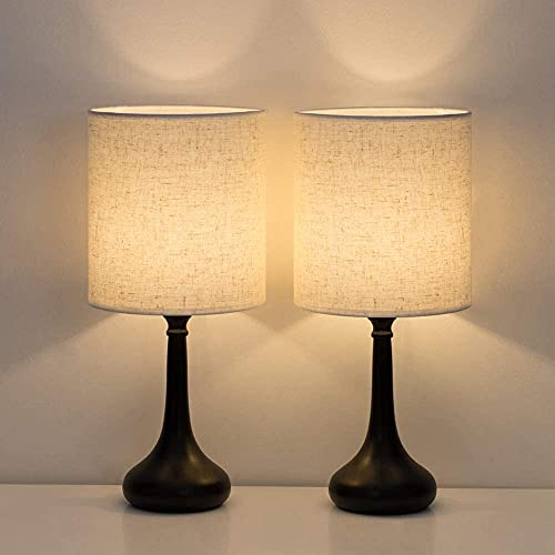 Shinoske- Lámparas de mesa modernas , lámpara de noche pequeña con pantalla de tela de lino y base de metal negro, juego de 2 lámparas de escritorio vintage para dormitorio, sala de estar, hotel