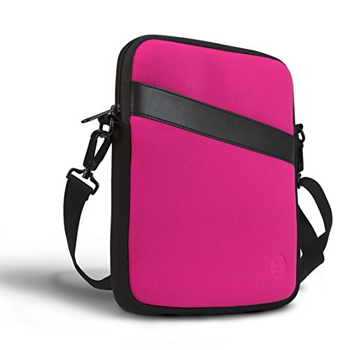 Eastsport Neoprene Crossbody Tablet Bag, Carrying Bag Sleeve with Shoulder Strap for Apple iPad and Tablets, Deep Pink