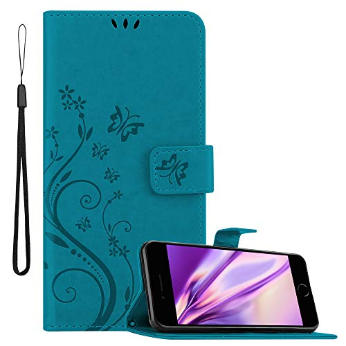 Cadorabo Hülle für Apple iPhone 8 Plus / 7 Plus / 7S Plus in FLORAL BLAU Handyhülle im Blumen Design mit Magnetverschluss, Standfunktion & 3 Kartenfächern Hülle Cover Schutzhülle Etui Tasche
