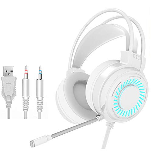 Gaming Headsets Gamer Headphones Surround Sound Stereo Wired Earphones USB Microphone Colourful Light PC Laptop Game Headset White
