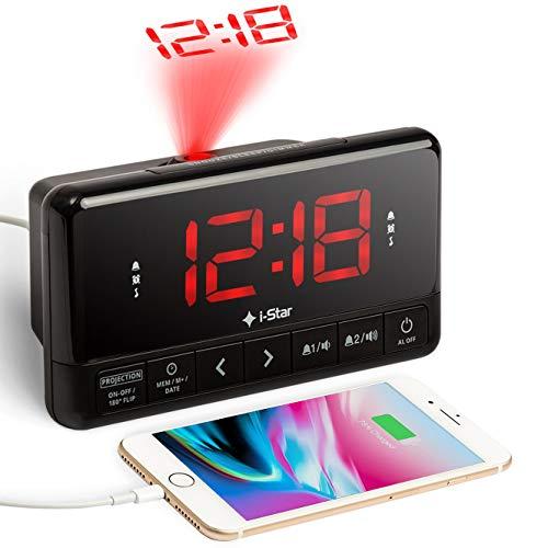 Wekker met Projectie, Digitale Projectiewekker met USB aansluiting, Dubbel Alarm, Sleeptimer, Snoozeknop, Groot display Wekkerradio