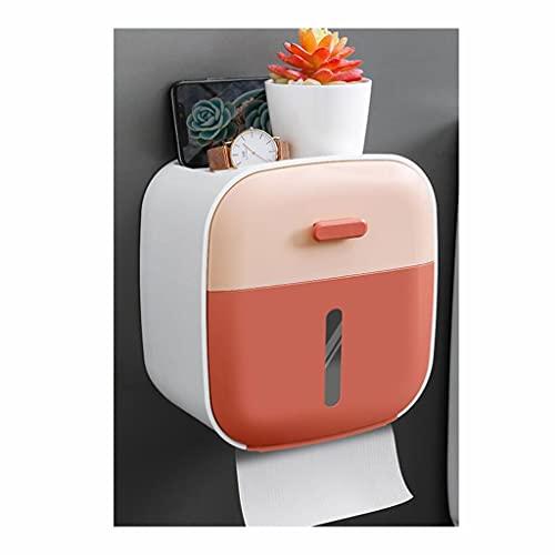 Dispensador de toallas Soportes de papel higiénico Rodillo de tejido de baño Soporte con estante sin taladro de taladrado Montado en la pared (tamaño: 21.5 cm, Material :ABDOMINALES) ( Color : Pink )