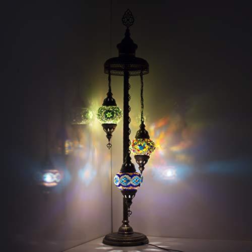 Turco marroquí estilo Tiffany vidrio mosaico lámpara de pie noche luz 3 bola y bombilla lámpara de pie