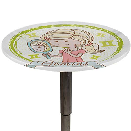 Elastic Edged Table Cover Zodiac Gemini Long and Durable Life Cartoon Style Little Girl with a Mirror and Reflection Twins Concept for Kids Decoration Outdoor Picnic Multicolor Diameter 70'