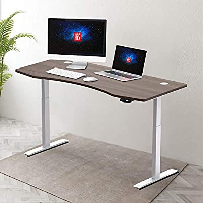 """Hi5 Ez Electric Height Adjustable Standing Desk with Ergonomic Contoured Tabletop (71""""x 31.50"""") and Dual Motor Lift System for Home Office Workstation-(Walnut Color top/White Frame)"""