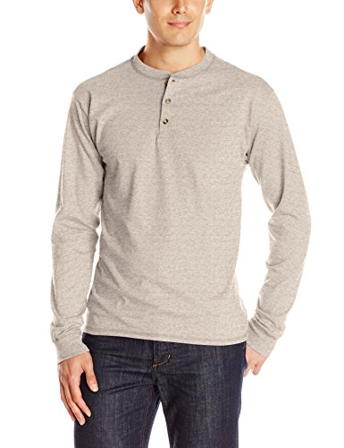 Hanes Men's Long-Sleeve Beefy Henley T-Shirt - Medium - Pebblestone Heather