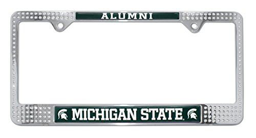 Michigan State University License Plate Frame Variation (Crystal Alum)
