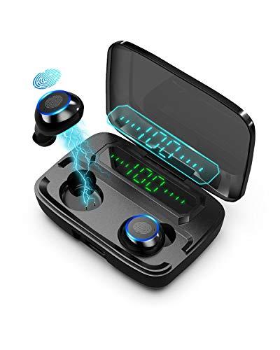 TEKER Audífonos Bluetooth 5.0, Auriculares Inalámbricos 9D HiFi IPX7 Impermeable 1500mAh Estuche para…