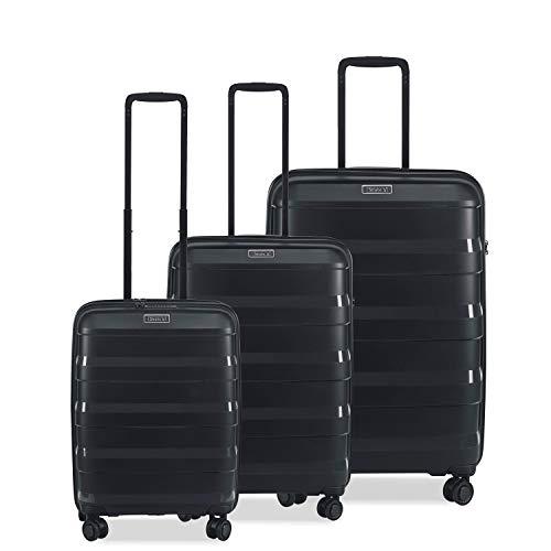 STRATIC Straw - Juego de 3 Maletas rígidas con Ruedas y 4 Ruedas, candado TSA (S, M, L), de plástico ecológico, Color Negro