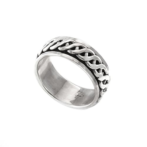 Silverly Mens Womens .925 Sterling Silver Celtic Braid Rope Spinner Thumb Ring