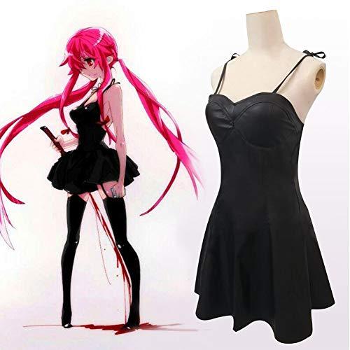 FDSEP Mirai Nikki Gasai Yuno Anime Cosplay Kostüme Kleid + Kopfschmuckschleife,XL