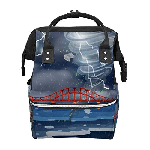 A Cyclone and Thunderstorm School Backpack Large Capacity Mummy Bags Laptop Handbag Casual Travel Rucksack Satchel for Women Men Adult Teen Children