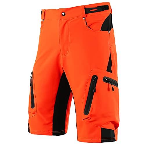 Pantalones Cortos de Montaña para Hombre, Pantalones Cortos Ciclismo Hombre de Transpirables Sueltos Pantalones Cortos de Carga de Ajuste Relajado con Bolsillos Cremallera,Naranja,XXL