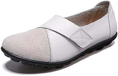 zapatos Basse mujer,vintage Original Ronda Casual Empalme Puntera Cerrada Cómodo Y Suave Cuero Natural mocasines Con Suela De Goma Suave Barco zapatos zapatos Planos Exteriores Damas De blanco