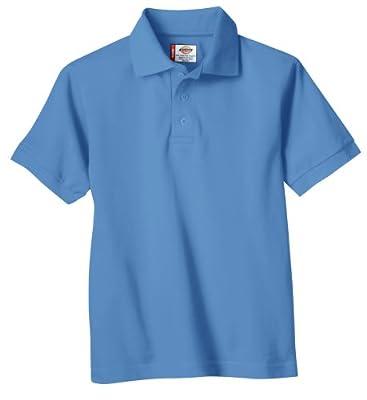 Dickies Big Boys' Short Sleeve Pique Polo Shirt, Light Blue, Large (14/16)