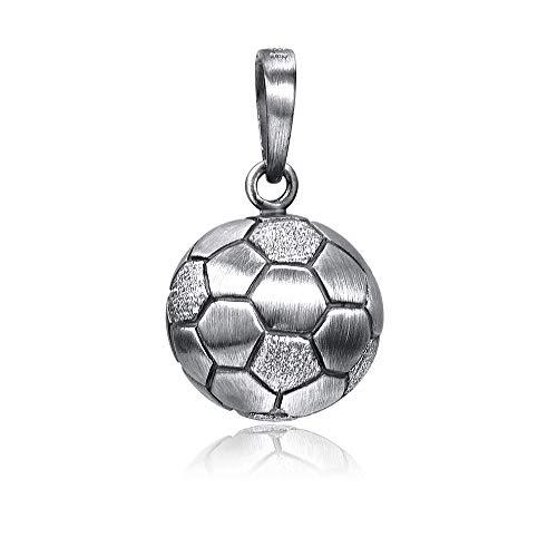 Materia Fußball Kettenanhänger für Herren Jungen - 925 Silber Schmuck Männer Ball schwarz oxidiert in Box KA-461-Antik