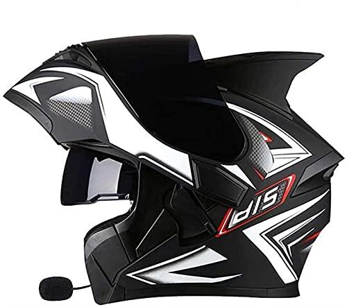 Egrus Motocicleta Bluetooth Flip Up Cascos, Modular Cara Completa Viseras Dual Bike Motocross Helmets Motorbike Casco de locomotoras para Hombres Adultos y Mujeres ECE Certified D, XXXL