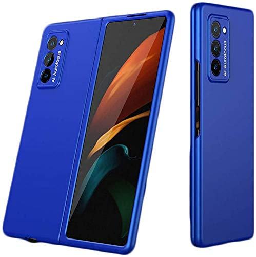 2pcs 360-degree Protection with Elegant Appearance,Anti-fingerprint and Ultra Thin For Samsung Galaxy Z Fold 2 5G Shockproof 2nd Generation Case Cover (Barcelona Blue)