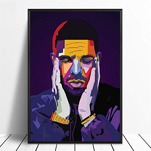 zzxywh Drake WPAP Pop Art Hiphop Rapper Music Singer Poster Print Wall Art Painting Home Decor Canvas Print 50x75cm No Frame