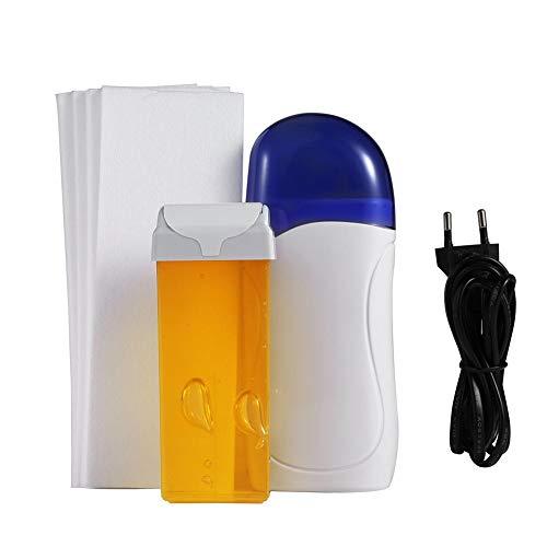 Ontharingsharsverwarmingsset, draagbare patroonwasverwarmer + waspatroon + ontharingspapierepilator, ontharingsrol voor lichaamshaar op ontharingswasmachine(EU Honing smaak)