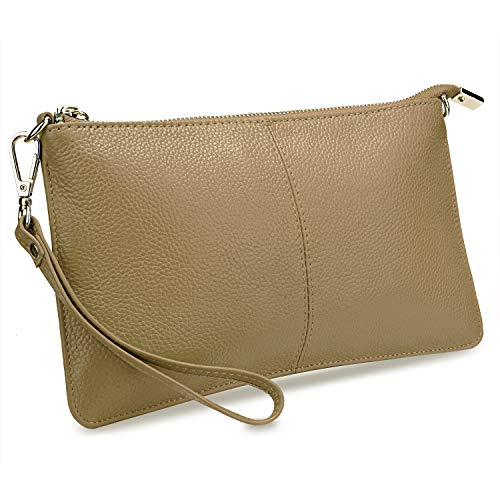 YALUXE Women's Wristlet Phone Clutch Wallet Removable Gold Shoulder Chain Real Leather Khaki