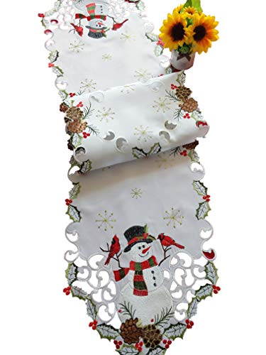 Jamie's Arts Snowman & Cardinals Christmas Embroidered Handcut Table Runner 13x68 Inches